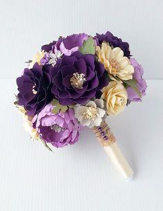 Paper Bouquet - Paper Flower Bouquet - Wedding Bouquet - Shades of Purple…