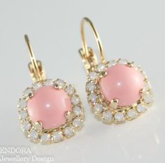 Pink coral crystal dangle earrings Gold by EndoraJewellery on Etsy, $32.50