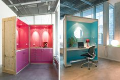 A pink kitchen in a shipping crate and a solo crate with a round window / Photo: