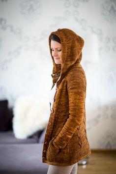 Ravelry: Glazed Pecan Hoodie pattern by Meiju K-P Ravelry, Soy Woolly, Glazed Pecans, Hoodie Pattern, Free Pattern, Knit Crochet, Knitting Patterns, Winter Hats, Turtle Neck