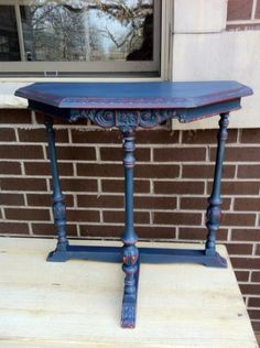 Nice blue table with a bit of red