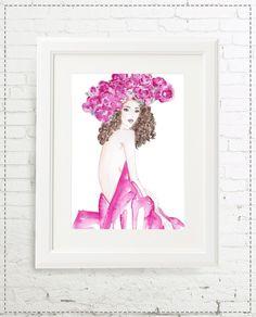 Illustrationen - Illustration Blumenmädchen - ein Designerstück von -marenkruth- bei DaWanda