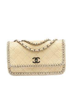 Chanel Python Cream Quilted Chain Around Shoulder Bag