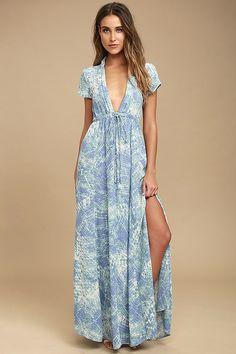 Cute Blue Dress - Print Dress - Maxi Dress - $94.00