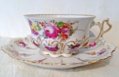 Dresden Hand Painted Porcelain Cup Saucer by janell