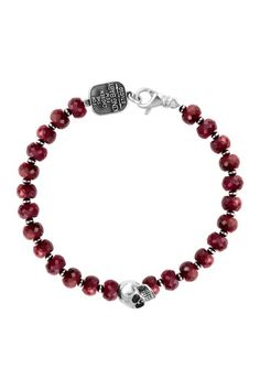Sterling Silver Red Ruby Beaded Bracelet