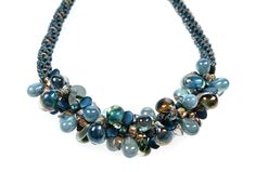 Shades of Blue - a complete kit to make this beautiful Kumihimo necklace that uses a selection of lovely beads co-ordinated with these stunning lampwork teardrops Teardrop Necklace, Gemstone Necklace, Gap, A 17, Shades Of Blue, Strand, Beaded Jewelry, Jewellery, Glass Beads