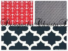 Red Sailor Anchors Navy Fynn and Gray Minky by DesignsbyChristyS