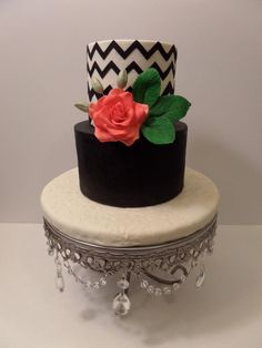 Pink Rose and Chevron Cake Gorgeous Cakes, Pretty Cakes, Amazing Cakes, Fancy Cakes, Mini Cakes, Cupcakes, Cupcake Cakes, Chevron Cakes, My Birthday Cake