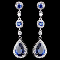 Stunning! Sapphire Blue CZ Drop Wedding and Formal Earrings - Affordable Elegance Bridal -