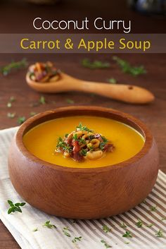 Coconut Curry Carrot & Apple Soup w/ Bacon, Granny Smith Apple & Cashew Topping