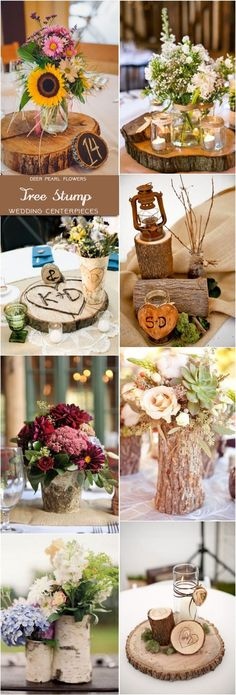 Rustic country tree stump wedding centerpieces / http://www.deerpearlflowers.com/wedding-centerpiece-ideas/