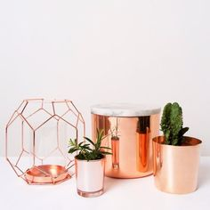Interior decoration with pink gold details