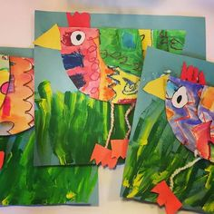 How funky is your Chicken How loose is your Goose It's chicken time in Kindergarten We explores patterns while making this darling chickens. Next year I think I'll add some tail feathers classroomartprojects Chicken Crafts, Chicken Art, Kindergarten Art Lessons, Art Lessons Elementary, Kids Art Galleries, First Grade Art, Spring Art Projects, Feather Crafts, Preschool Art