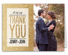 Glitter Ombre Wedding Suite Thank You Note from The Bonnie Marcus Collection