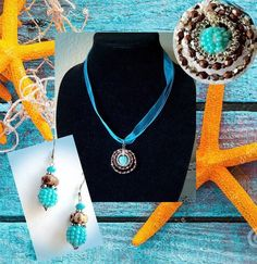 Turquoise Boho Pendant & Drop Earrings, Folk Jewelry Set, Turquoise Accessories,  Turquoise Boho, Handmade Gift, Birthday Gift, For Her by Creationlily on Etsy https://www.etsy.com/listing/218181529/turquoise-boho-pendant-drop-earrings