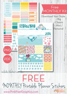 FREE February 2018 Monthly PLanner Sticker kit: Download your free planner printable. These free kits will fit just about any planner. See more at www.pinkpixelgraphics.com