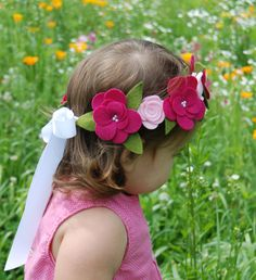 Flower Crown Hair Wreath Headband - Felt Flowers - Pink Roses & Magnolias. $27.95, via Etsy.
