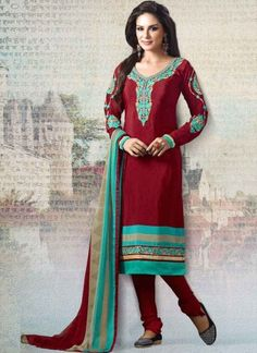 Baronial Maroon And Turquoise Embroidery Work Churidar Suit In Fiji  http://www.angelnx.com/Salwar-Kameez/Churidar-Suits