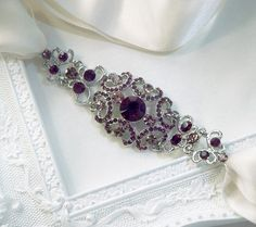 Amethyst Bridal Ribbon Rhinestone Headband Hair Accessory - Gracie Purple