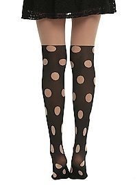 HOTTOPIC.COM - LOVEsick Duck Polka Dot Faux Thigh High Tights