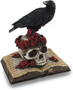 Veronese Design Perched Raven On Rose Skull and Open Poetry Book... Spooky Halloween Decorations, Halloween Home Decor, Halloween Design, The Raven Poem, Creepy Home Decor, Crow Skull, Scary Costumes, Skull Fashion, Poetry Books