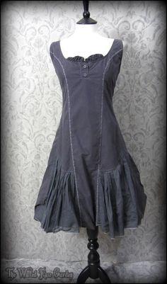 Dark Smoky Grey Stitch Lagenlook Frill Parachute Dress 14 MAIS SOLEIL Mori Girl | THE WILTED ROSE GARDEN