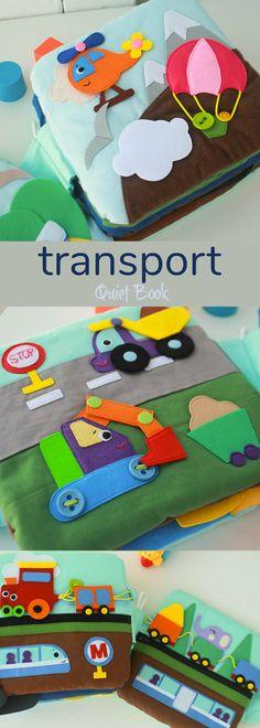 Transport quiet book. 4 pages: building, trains, air transport, space. #quietbook #affiliate