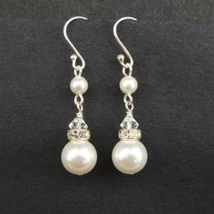 Classic Pearl Bridal Earrings, STERLING SILVER Wedding Earrings, Swarovski Pearl Earrings, Ivory White Pearl Earrings, PARFAIT. $22.00, via Etsy.