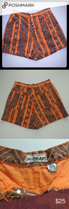 """80s Vintage High Waisted Print Button Shorts Abstract Print, Orange and Indigo Blue  Waist 30-31"""" Hip 40-42"""" Rise 15"""" Length 15"""" No Excuses Shorts Jean Shorts"""