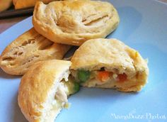 Mini Pot Pies with Grands Biscuits - so easy. Have to try these soon. Reminds me of Mrs. Paterson's hand held chicken pot pies