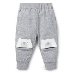 100% Cotton French Terry Track Pant. Pull on trackie with elasticated wasitband and cuffs. Features printed bear at knee. Regular fitting silhouette. Available in Patchy Marle.