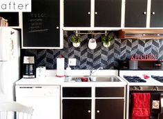 Decorating my apartment - chalk board contact paper for back splash - article also suggests removable wallpaper and decorating cabinets!