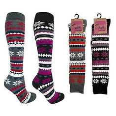 New #womens 2 pair pack cotton rich knee high #aztec nordic winter ski #socks sk2,  View more on the LINK: http://www.zeppy.io/product/gb/2/142112343373/