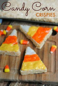 candy corn crispies treats recipe #fall #recipes #kidfood #candycorn #dessert