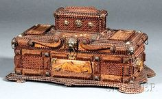 Chip-carved -Maria- Tramp Art Jewelry Box, Americana.