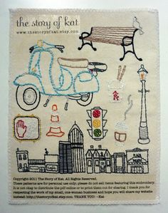 The City Set Hand Embroidery Pattern by thestoryofkat on Etsy