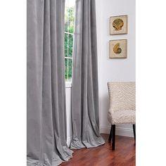 Signature Silver Grey Velvet 96-inch Blackout Curtain Panel | Overstock.com $93.89