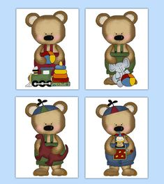 TEDDY BEAR NURSERY Art Prints or Decals Boy Woodland Forest Animal Stickers Decor Kids Room Childrens Bedroom Baby Shower Gift Decorations