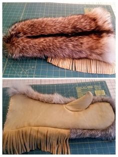 Coyote fur, buckskin fringe chopper mittens. Sewing Leather, Leather Pattern, Coyote Hunting, Pheasant Hunting, Archery Hunting, Tanning Hides, Native American Fashion, American Clothing, Deer Hide
