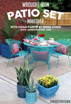 How to paint wrought iron patio furniture with Chalk Paint by Annie Sloan via Jen Woodhouse #madeitmyown #chalkpaint #anniesloan #patio #furniture #outdoors #makeover #tutorial #wroughtiron #refresh #refinish #red #aqua #turquoise #provence #florence #au