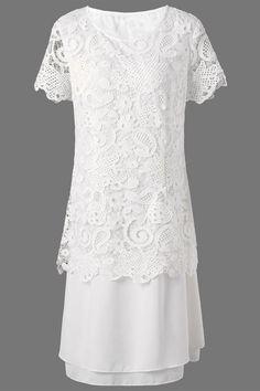$26.63 Midi Layered Lace Panel Dress - White