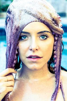 Jenny Mollen wearing an Octopus. Yeah, really.