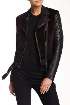 """Mackage """"Tamika Fur & Leather Moto Jacket"""".  I wish it was faux fur/leather but the point is, I like this style."""