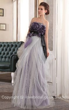 Fascinating Wrinkled Strapless Empire Waist Prom Dress With Floral Motifs