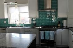 """3"""" x 6"""" Glass Subway Tile Teal as seen on DIY I Hate my Kitchen!"""