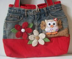Bolso vaquero denim and fabric purse with other decoration