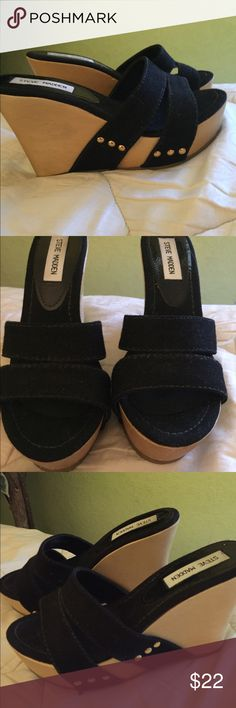Steve Madden black strappy wooden wedge size 7 Steve Madden wooden wedge size 7 In EUC worn once !I've placed Foot petals no slip grips on the bottoms and ball of foot cushions in the inside ( matching black hard to see ) which really helps with comfort. No box Steve Madden Shoes Wedges