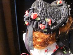 """Straw Hat Fits French Fashion 12"""" 6"""" Head Circumference Black Straw Red Roses 