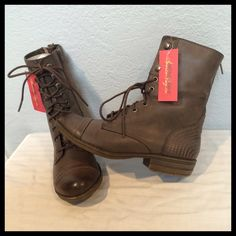 AMERICAN RAG Kadet Combat Boots Taupe Sz 7M Brand Bew With Tags & Box!  Size 7M.  Color: Taupe.   Can be worn in different ways: laced up, laced up half way, folded down, etc. Features a back zipper, an inside zipper & lace ups in front.   Super cute & versatile! American Rag Shoes Combat & Moto Boots